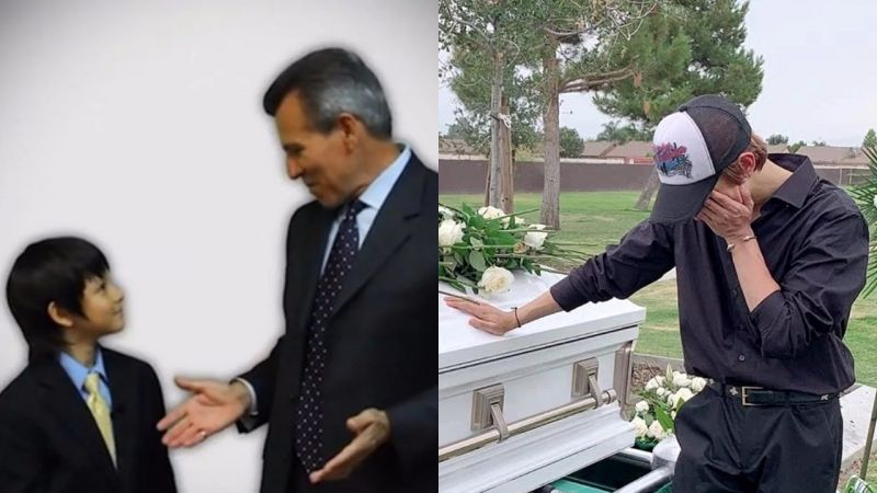 「爸爸生日快乐,我很想念你...」金Samuel追悼逝世的父亲,面对棺木掩面而泣
