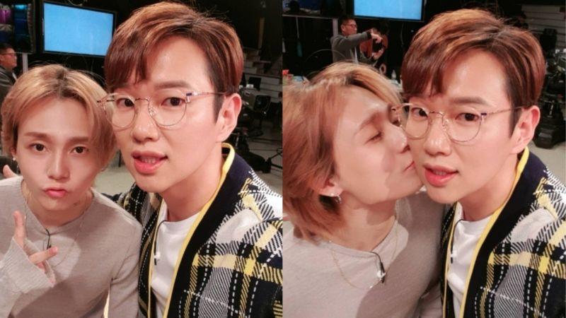 張聖圭更新與DAWN合照:「DAWN和我親吻的照片...第一次被偶像歌手親,泫雅對不起了!」