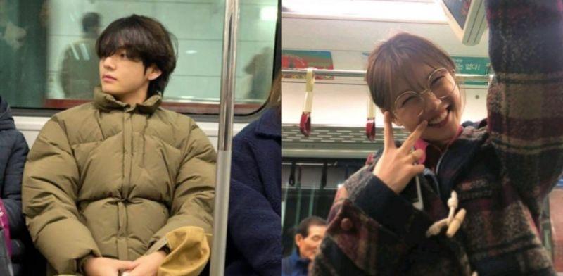 BTS防弹少年团V搭地铁其实是和金裕贞约会?!网友的脑洞太大了~