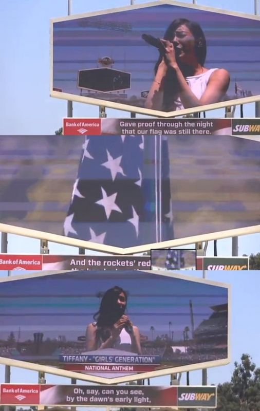 少女時代Tiffany深情演唱美國國歌 完美高音感動當地觀眾