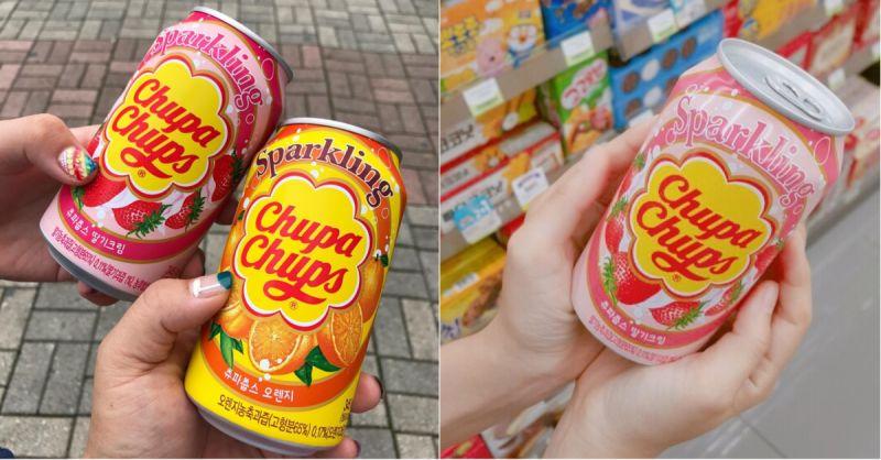 這個是韓國限定!棒棒糖品牌推出人氣口味的汽水!你想要來一罐嗎?