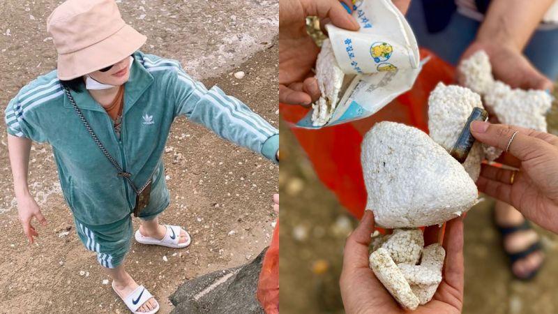 讚!金惠秀假日去海邊撿拾垃圾 ,身體力行呼籲環保