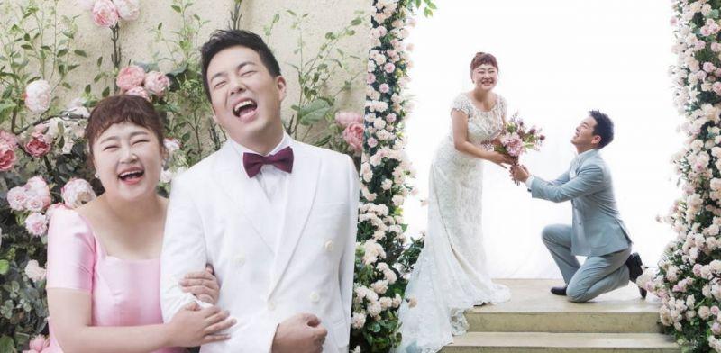 减重30kg的洪允花公开婚纱照!恭喜8年爱情长跑修成正果