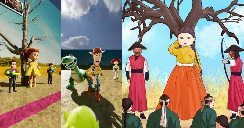 当《玩具总动员》角色成为《鱿鱼游戏》的参赛者&古代发生的话,网上大玩创意「123木头人」无极限!