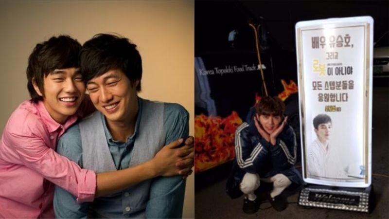 跨越年齡的好友誼!蘇志燮為拍攝《不是機器人啊》的俞承豪送上應援餐車!