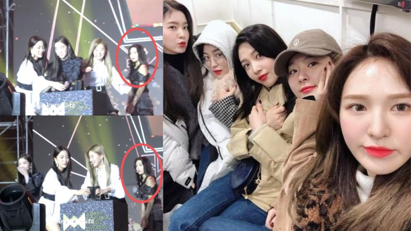讲完感言忘记拿奖杯的Red Velvet,慌张的样子让粉丝直呼:「太可爱了」但Joy完全状况外啊 XD