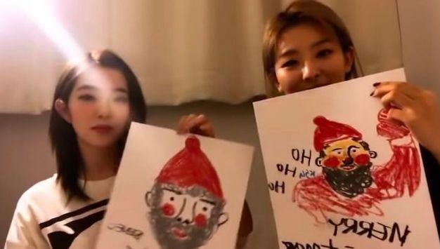 Red Velvet比畫技,澀琪「吐槽」Irene:畫的像是來偷東西的聖誕爺爺