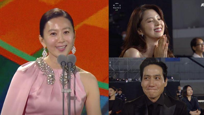 金喜爱获颁百想最佳女主角 发表感言时韩素希和朴海俊的反应太暖❤