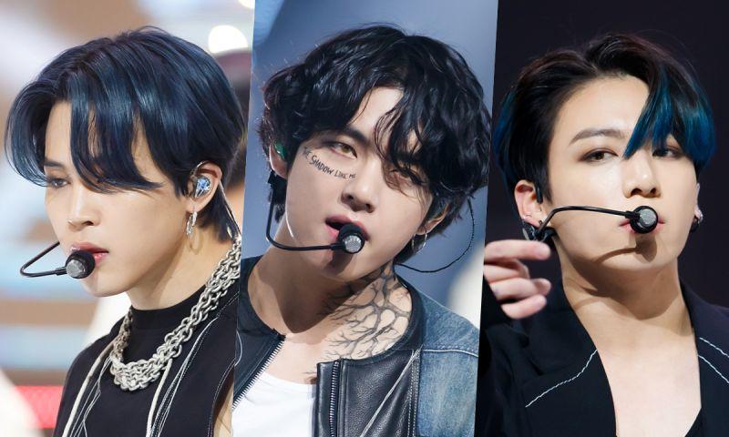 V的颈部「纹身」,Jimin的蓝头发! 《M! Countdown》公开BTS防弹少年团后台自拍+舞台高清照