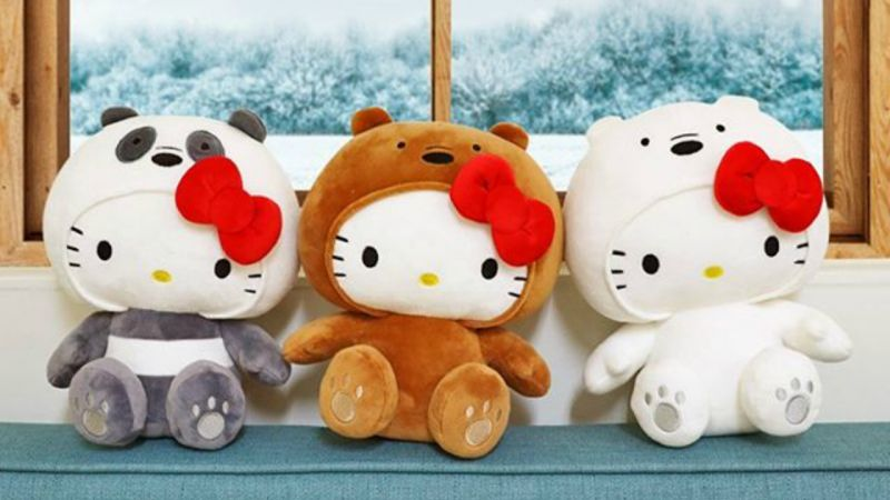 披著「裸熊」皮的喵咪?Hello Kitty X We Bare Bears联名限量玩偶好萌!