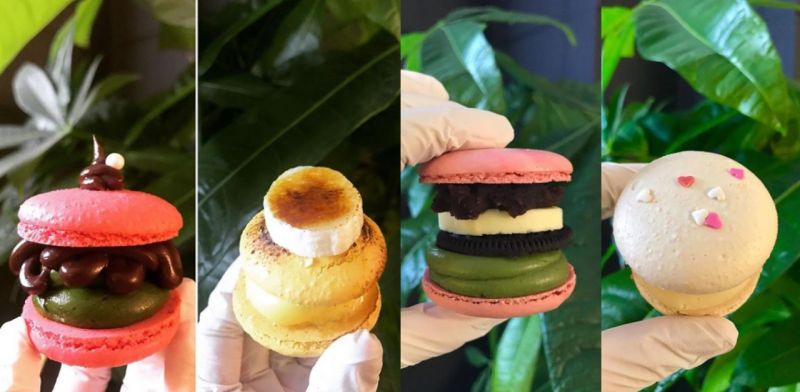 看著這馬卡龍漢堡,卡路里是什麼?不管了!