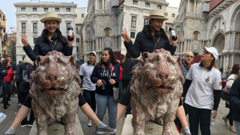 离谱!韩女星游欧洲开心骑石狮   未料被骂惨损坏古迹~光速删照道歉!