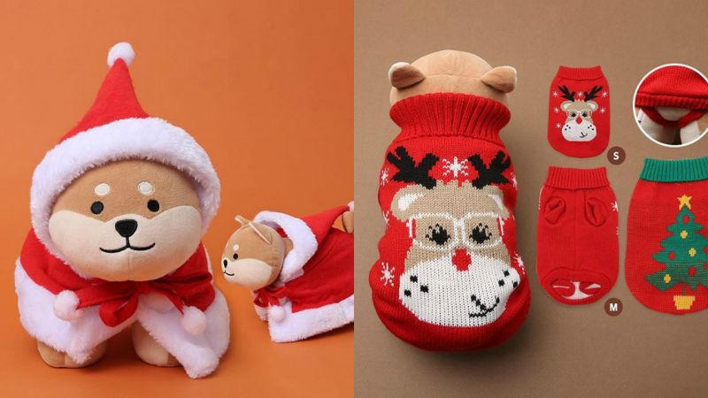 即使家里没养狗,也会想种草DAISO大创的小狗圣诞冬衣、头箍!