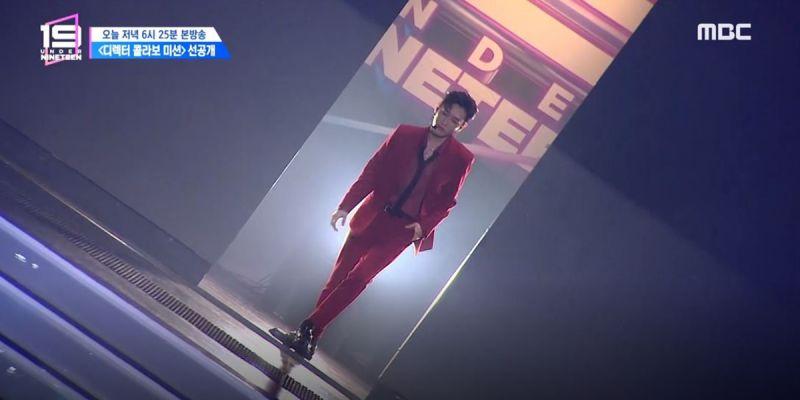 《UNDER NINETEEN》表演,银赫身穿红西装登场超有气势
