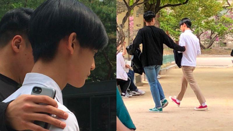 Wanna One裴珍映畢業照街拍  小臉+大長腿簡直就是行走的海報啊