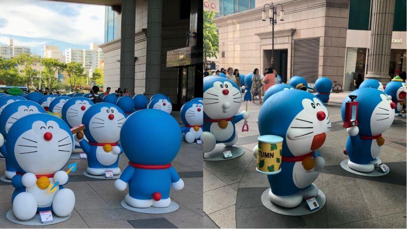 百隻巨型哆啦A夢集韓國啊!每一隻都有著不同的表情呢!