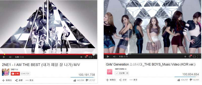 少女時代與2NE1 MV 達一億點擊率