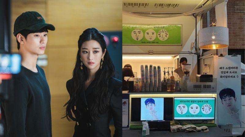 朴叙俊、IU、李玹雨为正在拍摄《虽然是精神病但没关系》的金秀贤送上应援...总共有三台餐车呢!