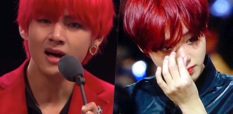 看到BTS防彈少年團V在台上哭,台下的迷弟朴志訓也默默擦眼淚T^T