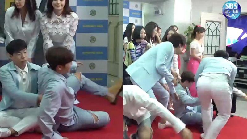 金鍾國《RM》記者會上看似腰痛不適,弟弟們急上前攙扶!