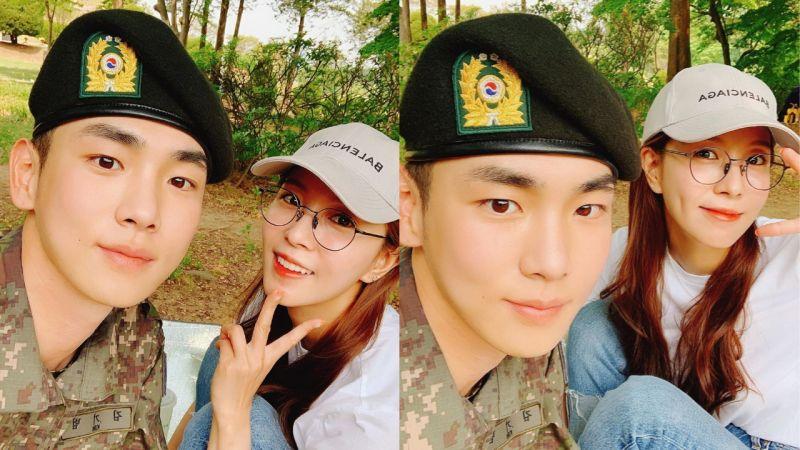 女神去军队看他啦!BoA更新与key合照:「我们起范,穿军装也那么适合,下次还会来的!」