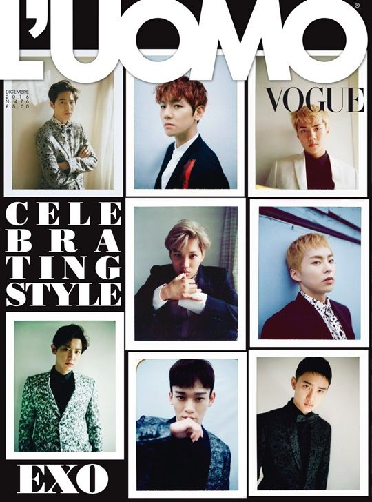 EXO登《L'UOMO VOGUE》年末封面 亞洲偶像組合第一人