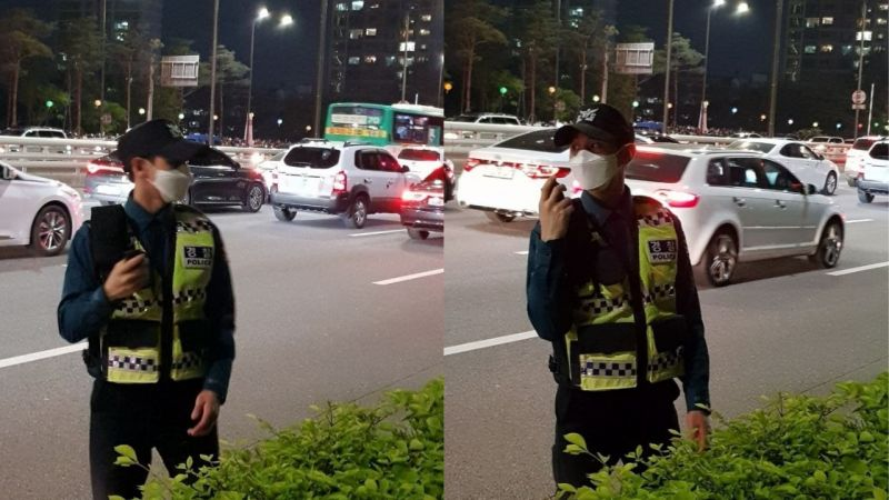 正在交通執勤中的HIGHLIGHT成員梁耀燮被捕獲!網友:「梁警官太帥了,臉真的好小」