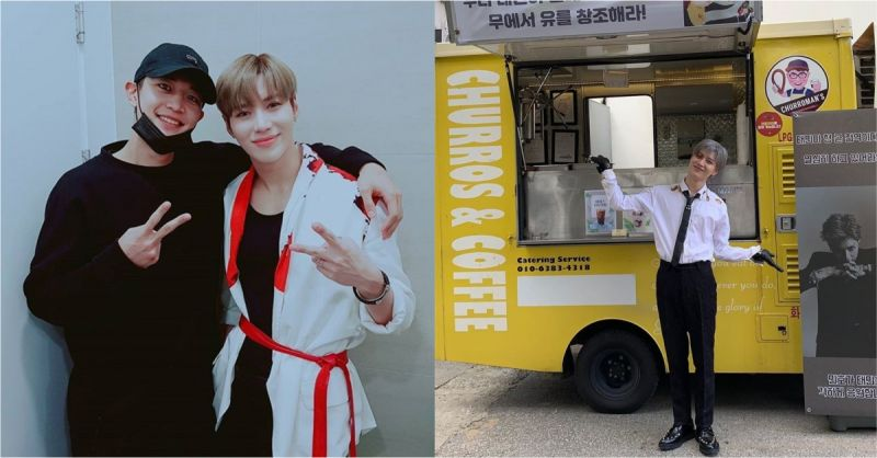在军中也不忘好交情!SHINee珉豪送给泰民的惊喜咖啡车,连应援横幅都充满Charisma!