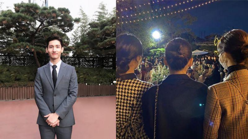 这可能是东方神起最强昌珉婚礼现场流出的唯一一张照片:就是少女时代三位美女的温柔背影XD