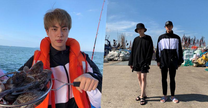 说好分开休假结果还是贴在一起! BTS防弹少年团Jin&SUGA一同出海钓鱼