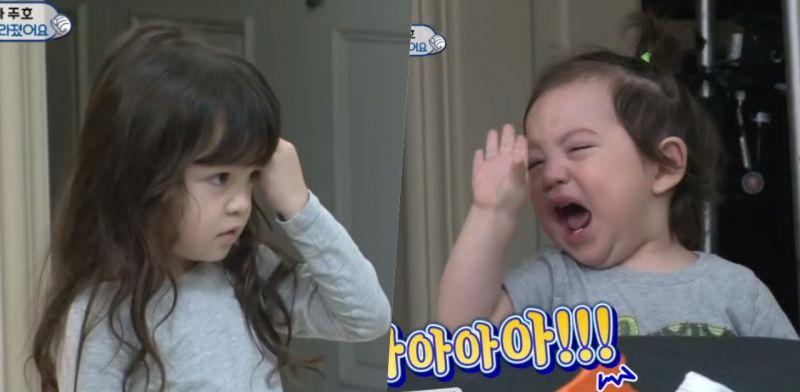 《超人回來了》小娜恩胡亂切歌,弟弟建厚終於爆發了~委屈臉擺手大哭:「不行這樣!」