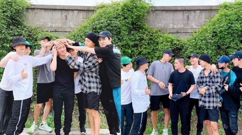 今日(1日)EXO成員送D.O.(都敬秀)入伍!LAY(張藝興)也到現場