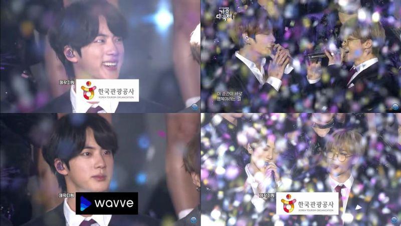《KBS歌谣盛典》Ending 防弹 JIN 突然一脸严肃,柾国、JIMIN 合唱画面超有爱