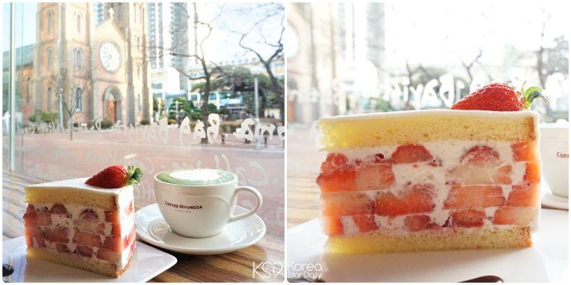 【大邱3天2夜】- 大邱必吃『咖啡明家』草莓蛋糕(食)