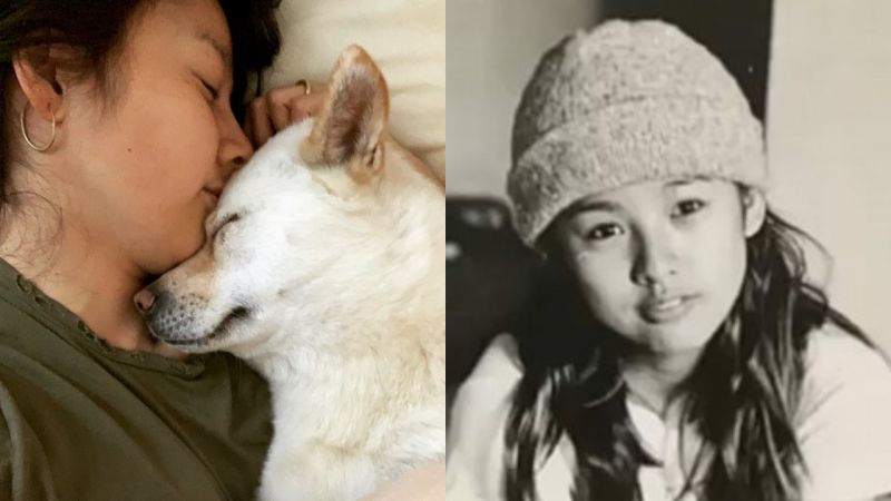 李尚順分享李孝利近照:摟著狗狗睡覺&17歲的baby face