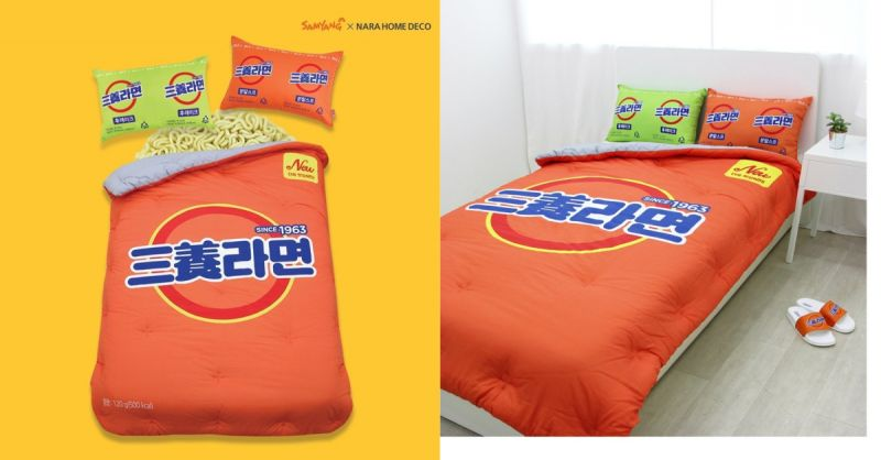 如果你是韩国拉面爱好者...那就不能错过三养拉面棉被组!XD