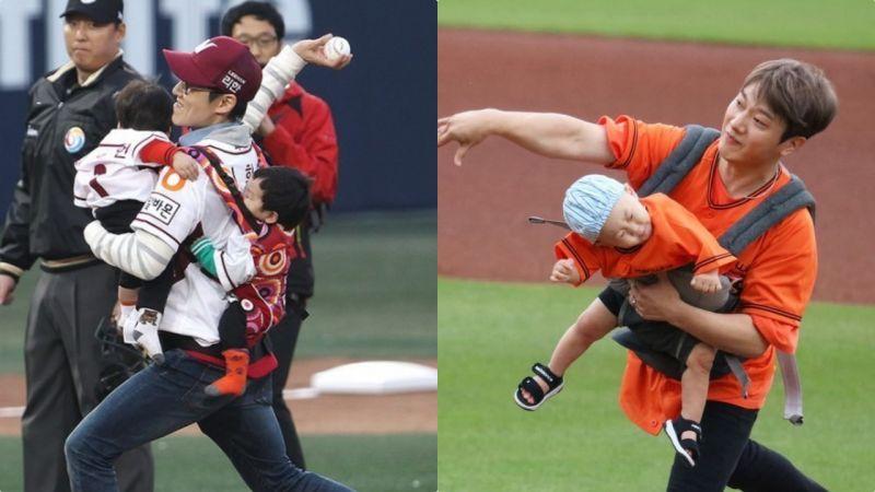 同样都是抱娃开球:为什么崔敏焕被骂上了热搜榜 李辉才却什么事都没有?