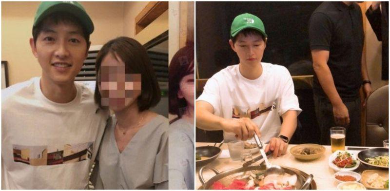 中国媒体批露宋仲基近况照片     戴绿色帽子与美女亲切合影