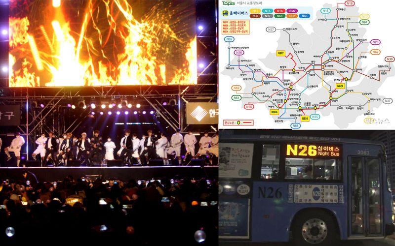 参加完倒数派对不用担心回不了家:跨年夜首尔加开4班深夜巴士!