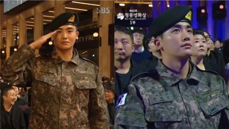 【第40届青龙电影节】朴炯植著军装出席并获「人气明星奖」:「剩1年就退伍了,我会全力以赴。」