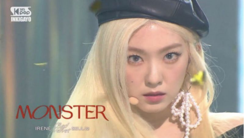 Red Velvet Irene绝美金发竟然是假的!摘掉后露出了中分贴头皮死亡发型...