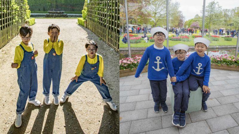 宋家三胞胎大韩、民国、万岁近况照!小小兵和小水手造型都非常可爱啊~