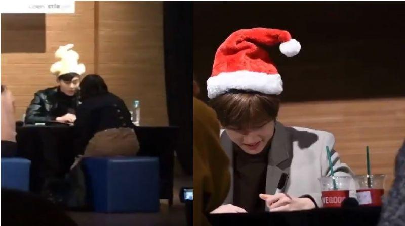 MONSTA X簽售會粉絲送上會動的烤雞帽和聖誕帽