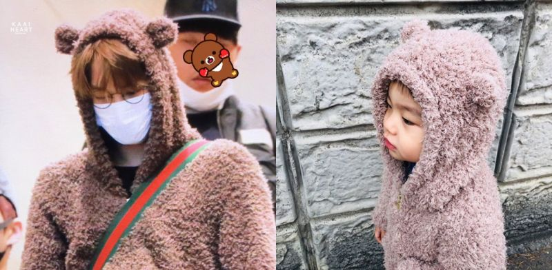 KAI和侄子穿情侶裝? 毛絨絨小熊也太可愛了吧!