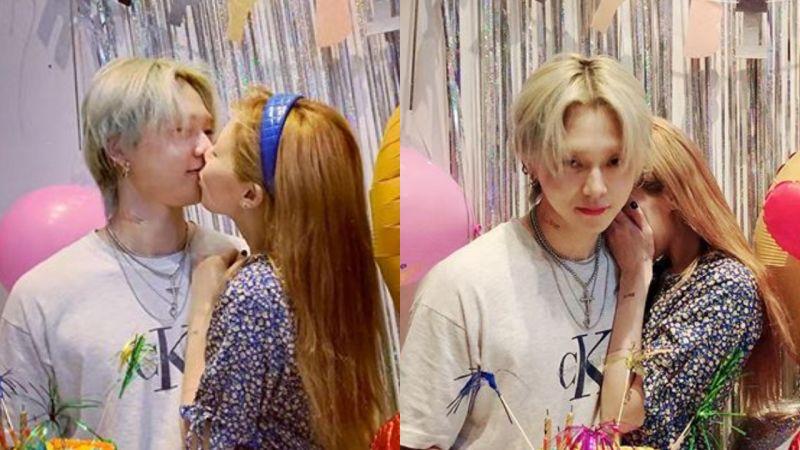 泫雅在男友E'Dawn庆生宴上献吻,疯狂撒糖:「亲爱的❤」