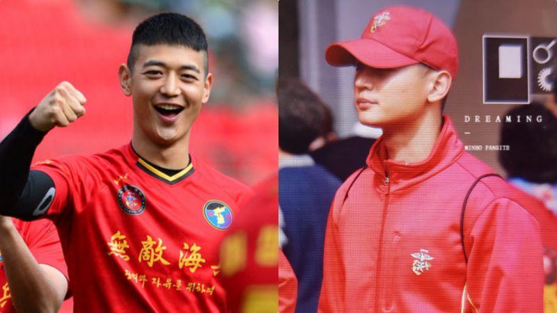 帅气足球小豪上线!SHINee珉豪现身绿茵场:红色球服太帅了❤