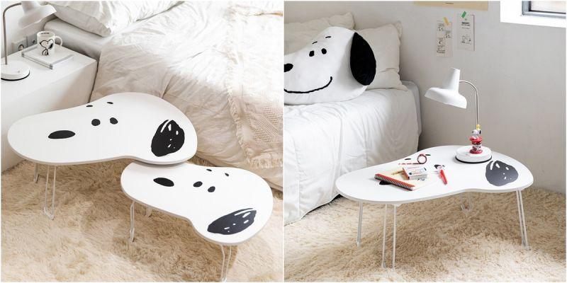 床上就該有一張懶人桌,滿版史努比桌面超可愛