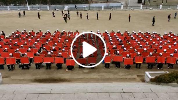 【北韓】的朝鮮學生預備慶典練習「萬人操」的側拍影片公開