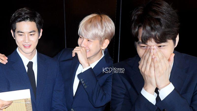 【有片】「先笑再說」!EXO成員看到自己紀念幣的反應:KAI驚訝捂嘴,伯賢和SUHO笑到彎腰