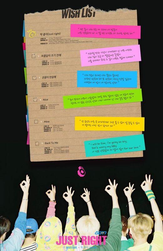 GOT7公開新專輯《Just Right》曲目表 風格多樣